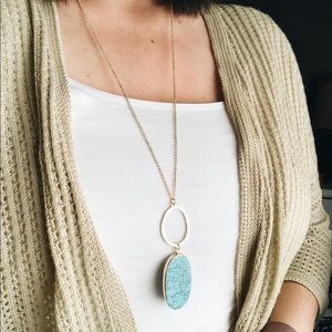 Southern Marble Stone Pendant Turquoise Necklace
